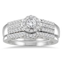 3/4 Carat Diamond Halo Bridal Set in 10K White Gold