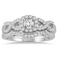 3/4 Carat Diamond Infinity Bridal Set in 10K White Gold