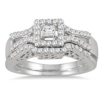 3/5 Carat Princess Diamond Bridal Set in 10K White Gold