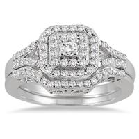 3/5 Carat Double Row Halo Diamond Bridal Set in 10K White Gold