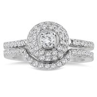 3/4 Carat Double Halo Diamond Bridal Set in 10K White Gold