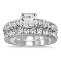 2 1/2 Carat Cushion Cut Diamond Bridal Set in 14K White Gold