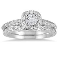 7/8 Carat Cushion Cut Diamond Halo Bridal Set in 14K White Gold