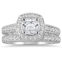 1 5/8 Carat Cushion Diamond Halo Antique Bridal Set in 14K White Gold