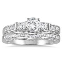 1 1/8 Carat TW Three Stone Diamond Bridal Set in 14K White Gold