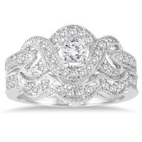 5/8 Carat Diamond Infinity Bridal Set in 10K White Gold