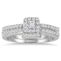 1/2 Carat Halo Princess Cut Diamond Bridal Set in 10K White Gold
