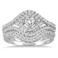 7/8 Carat Diamond Bridal Set in 10K White Gold