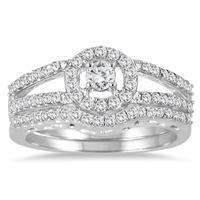 3/4 Carat TW Diamond Split Shank Bridal Set in 10K White Gold