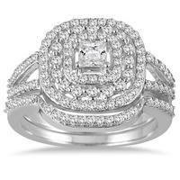 7/8 Carat Diamond Princess Triple Halo Bridal Set in 10K White Gold