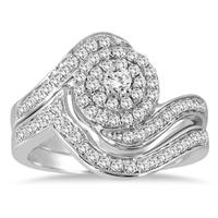 3/4 Carat Double Row Halo Diamond Bridal Set in 10K White Gold