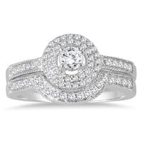 1/2 Carat Halo Diamond Bridal Set in 10K White Gold