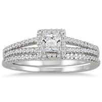 5/8 Carat Princess Cut Diamond Bridal Set in 10K White Gold