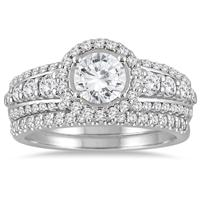 1 5/8 Carat TW Diamond Halo Bridal Set in 14K White Gold