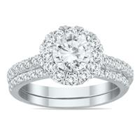 IGI Certified 2 Carat TW Diamond Halo Bridal Set in 14K White Gold
