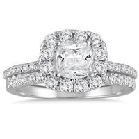 IGI Certified 2 Carat TW Cushion Cut Diamond Halo Bridal Set in 14K White Gold