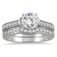 IGI Certified 1 1/2 Carat Diamond Bridal Set in 14K White Gold (I-J Color, I2-I3 Clarity)