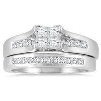 1/2 Carat TW Princess Diamond Bridal Set in 10K White Gold