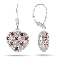 1/2 Carat Ruby Puff Heart Earrings in .925 Sterling Silver