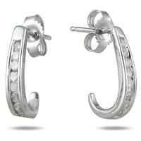 1/4 Carat TW Channel-Set Diamond J-Hoop Earrings in 10K White Gold