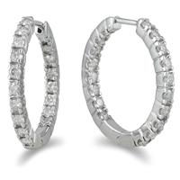 1 Carat TW Inside Out Diamond Hoop Earrings in 10K White Gold
