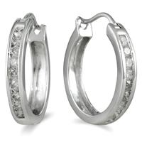 1/2 Carat TW Channel-Set Diamond Hoop Earrings in 10K White Gold