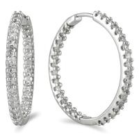 1.00 Carat TW Inside Out Diamond Hoop Earrings in 10K White Gold