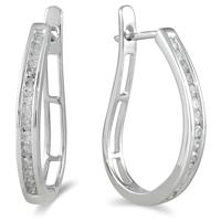1.00 Carat Channel-Set Diamond J-Hoop Earrings in 10K White Gold