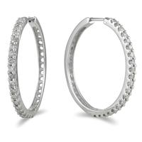 1.00 Carat TW Diamond Hoop Earrings in 10K White Gold
