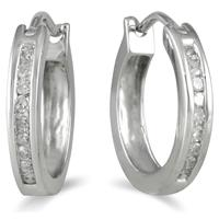 1.00 Carat TW Channel-Set Diamond Hoop Earrings in 10K White Gold