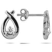 1/5 Carat TW White Diamond Knot Earrings in 10K White Gold