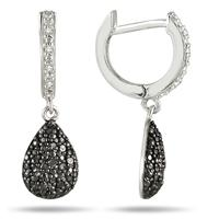 1/5 Carat T.W Black and White Diamond Earrings in .925 Sterling Silver