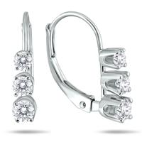 1/2 Carat Three Stone Drop Earrings in 10K White Gold