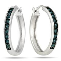 1/10 Carat Blue Diamond Hoop Earrings in .925 Sterling Silver