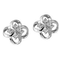 Flower Shape Diamond Earrings in 14kt White Gold