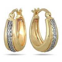18K Gold Plated Diamond Huggie Hoop Earrings