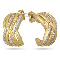18K Gold Plated Brass Diamond Earrings