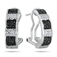 1/10 Carat Black and White Diamond Earrings in .925 Sterling Silver