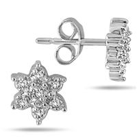 1/10 Carat Diamond Cluster Earrings in .925 Sterling Silver