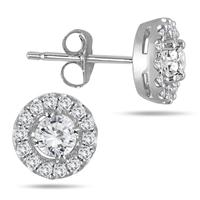 3/8 Carat Diamond Halo Earrings 10K White Gold