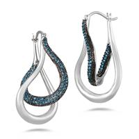 3/4 Carat TW Blue Diamond Earrings in .925 Sterling Silver