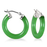 Natural Green Jade Hoop Earrings in .925 Sterling Silver