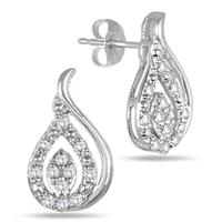 1/4 Carat TW Tear Drop Earrings in 10K White Gold