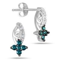 1/4 Carat Blue and White Diamond Earrings in 10K White Gold