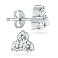 1 Carat Three Stone Diamond Flower Earrings in 14K White Gold