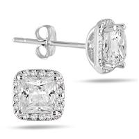 1 3/4 Carat Princess Diamond Halo Earrings in 14K White Gold