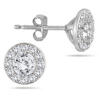 3/4 Carat Diamond Halo Earrings in 14K White Gold