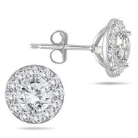 1 Carat Diamond Halo Earrings in 14K White Gold