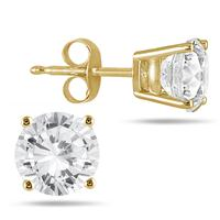 1.00 Carat Round Diamond Solitaire Earrings in 14K Yellow Gold