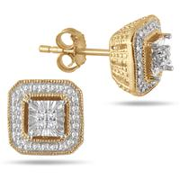 Diamond Antique Earrings in 18K Gold Plated Sterling Silver